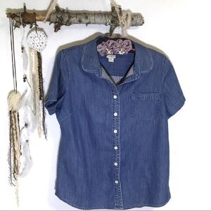 J. Crew short sleeve button down Chambray top